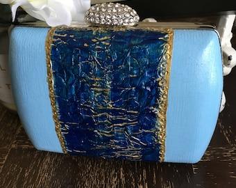 Royalty clutch, handbag , purse, painting