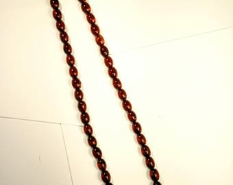 Natural Baltic Amber Olives Necklace Cognac Beads Calibrated