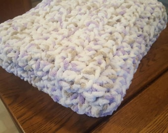 Crochet baby blanket in white, lilac and taupe; Super Soft Baby Blanket, Crib Blanket, Toddler Blanket