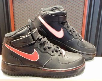 """Nike AF1 Mid Custom painted """"Candy Cane"""" Size 6.5Y"""