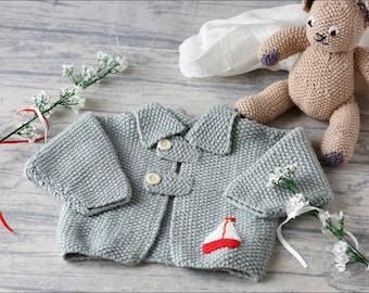 Baby boy jacket/baby hand knit/baby boy cardigan/3-6 months/baby boy gift/baby knitwear/blue baby cardigan/baby boy jacket/baby sweater