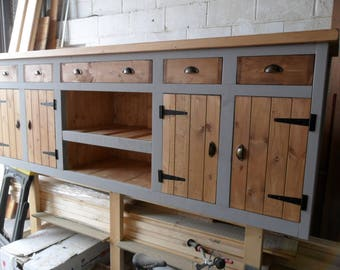 Kitchen unit with Belfast sink. Hand made Solid Pine. Sink included