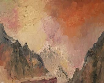Abstract mountain - colorful impressionist oil original painting