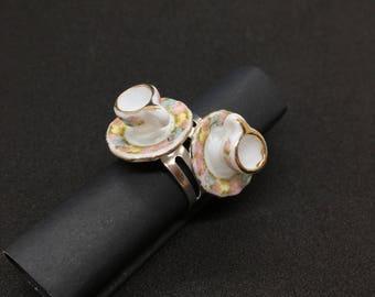 Floral Teacup Ring