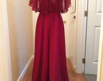 SALE Vintage 1960s Red Maxi Dress Size 4/6