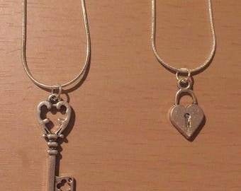 Lock and Key Necklace Pair