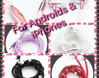 Unique Earbuds, Unique Earphones, Pink Earbuds, Pink Headphones, universal Earphones, Beaded Earphones, Pink Earbuds, Stereo.
