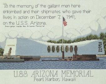 USS ARIZONA MEMORIAL Cross Stitch Pattern Needlepoint Pattern