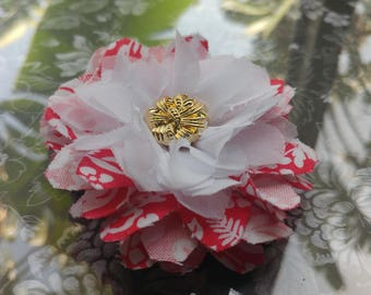 White and pink fabric flower