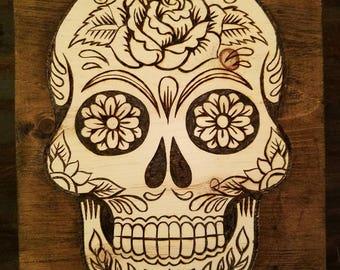 Wood Burned Sugar Skull