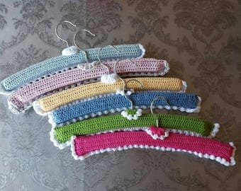 Children's wooden hangers lined crochet