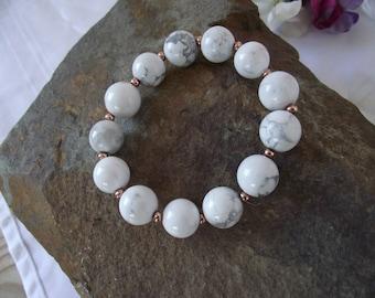 Howlite White/Grey Stretch Bracelet