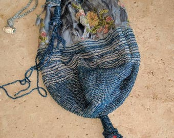 Old beaded purse with drawstring