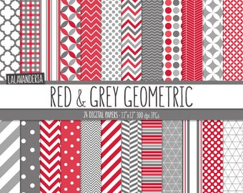 Geometric Digital Paper Package with Red and Grey Backgrounds. Printable Paper Set. Geometric Patterns. Digital Scrapbook. Instant Download
