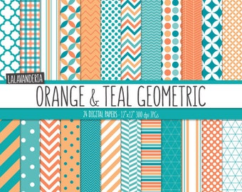 Geometric Digital Paper Package with Teal and Orange Backgrounds. Printable Papers Set - Geometric Patterns. Digital Scrapbook