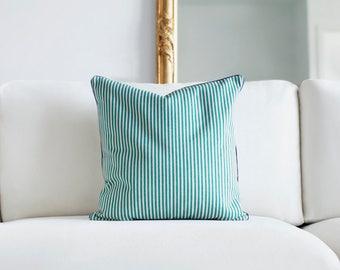 green ticking cushion cover