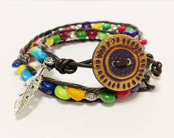 Multi Color double wrap leather bracelet