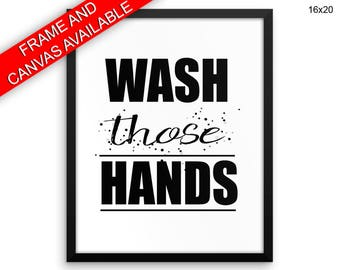 Wash Hands Wall Art Framed Wash Hands Canvas Print Wash Hands Framed Wall Art Wash Hands Poster Wash Hands Bathroom Art Wash Hands Bathroom