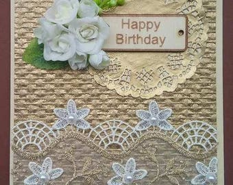Birthday card, Gold, Lace, Flowers