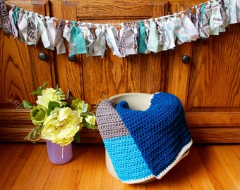 Shades of Blue Color Block Blanket
