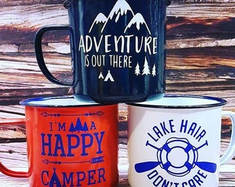 adventure, metal cups,cottage, camp, trailer, camper, lake, summer