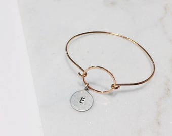 Personalised Bracelet, Initial Bracelet, Rose Gold Bracelet, Gift Idea, Wedding Favour