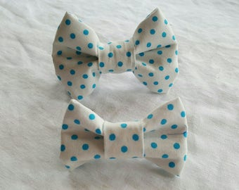 Pet Bow Tie - White with Teal Polka Dots