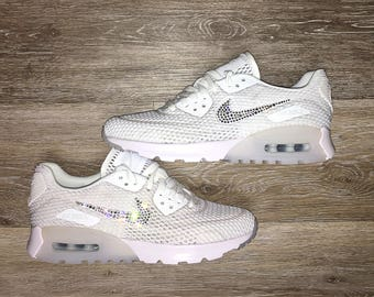 crystal Nike Air Max 90 Ultra Breath Bling Shoes with Swarovski Crystals Women's Running Shoes White