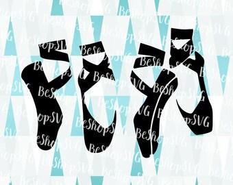 Ballet shoes SVG, Ballerina SVG, Ribbon ballet shoes SVG, Ballet Svg, Dancer Svg, pointe Svg, Instant download, Eps - Dxf - Png - Svg