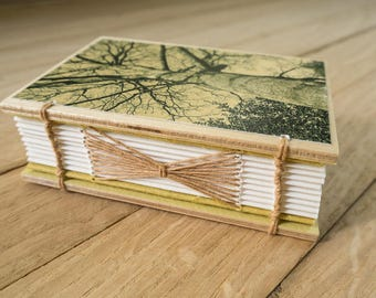 Small handmade journal - handbound book, coptic stitch and longstitch binding, wooden covers, original photographic covers, special gift