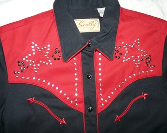 Rockabilly Women's Shirt, Red and Black With Rhinestone Studs.