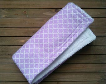 Purple Lattice Burpie | Burp Cloth | Baby Blanket | One Piece | About 20in × 20in