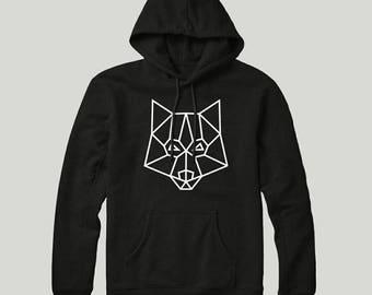 Geometric Minimalist Wolf Logo Organic Hoodie