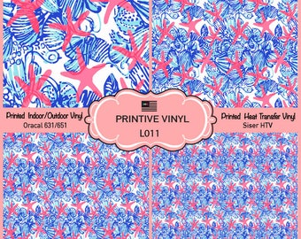 Lilly P Inspired Starfishs and Shells Pattern Printed Vinyl, Siser HTV , Oracal, Indoor Vinyl, Outdoor Vinyl, Heat Transfer Vinyl- L011