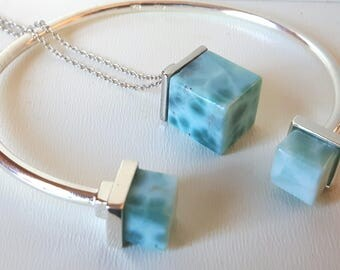 AAA Larimar Bracelet and Pendant set in .925
