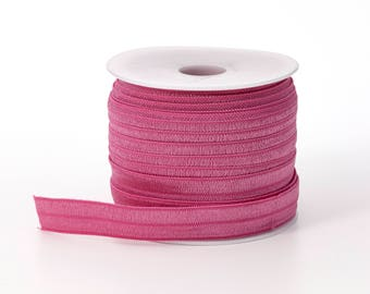 "Foldover elastic, .625"" Wide, 25 yds, Rose"