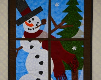 Quilted Snowman Window Pane
