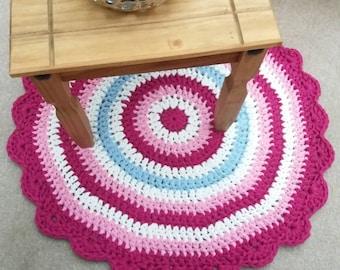 Pink Crochet Rug   Etsy