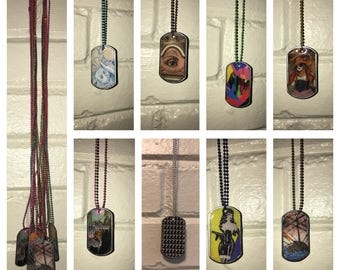 Dog Tag Art Necklaces, Contemporary Collage Art on Ball Chain, Multi Color