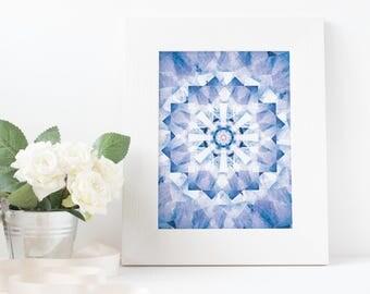 blue, summer, kaleidoscope, art, download printable poster A3/A4/A5