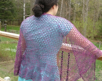 Lacy pink and purple summer shawl