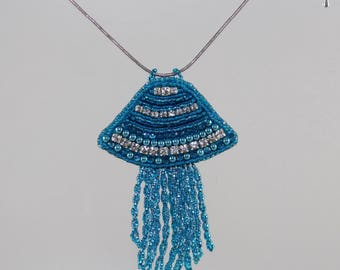 Bead Embroidery Necklace, Jellyfish Necklace, Jellyfish Jewelry, Jellyfish Pendant, Jelly Fish Necklace, Beach JellyFish Jewelry