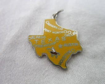Vintage Texas U S State Souvenir Enameled Charm Bracelet Charm Take a Look