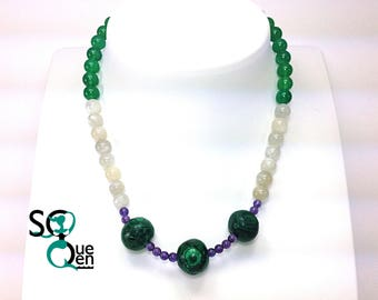 Natural gems - Jade, Selenite, Malachite and Amethyst necklace