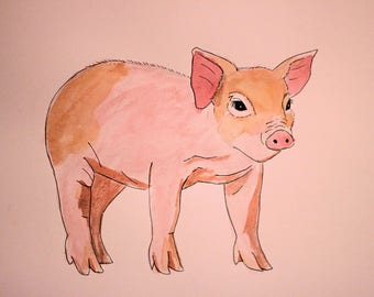 Original Watercolour Painting | This Little Piggy