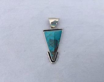 Geometric Navajo Turquoise Sterling Silver Pendant
