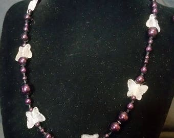 Purple butterfly and glass pearl necklace