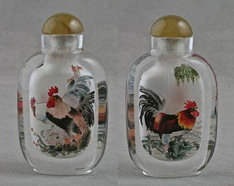 Chinese snuffbottle crystal inside painted