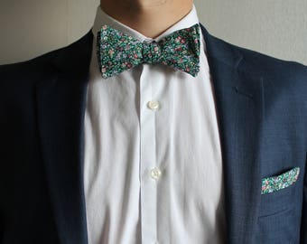 Summer Meadow adjustable self-tie floral bowtie and pocket square