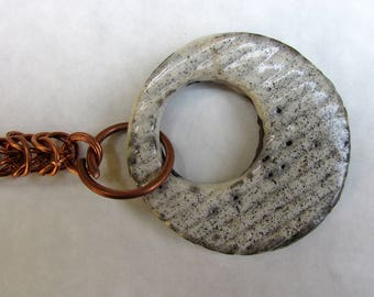 Copper and raku ceramic bracelet